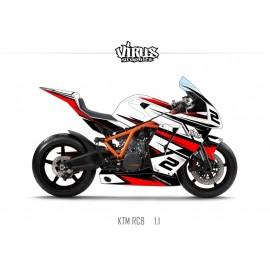 Kit déco KTM RC8 1.1 Blanc Noir Rouge
