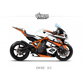 Kit déco KTM RC8 1.3 Blanc Noir Orange