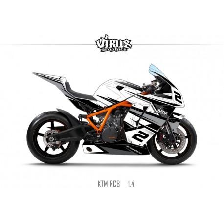 Kit déco KTM RC8 1.4 Blanc Noir Gris