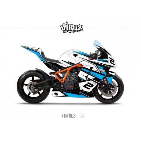 Kit déco KTM RC8 1.11 Blanc Noir Bleu