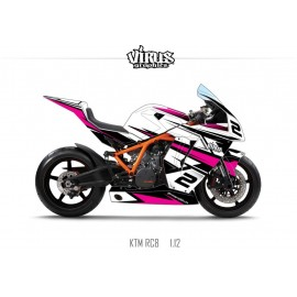 Kit déco KTM RC8 1.12 Blanc Noir Rose