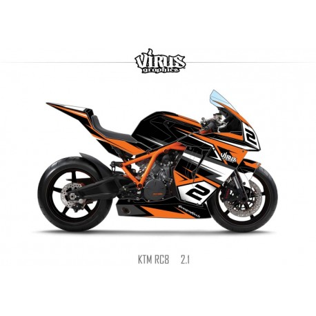 Kit déco KTM RC8 2.1 Noir Blanc Orange