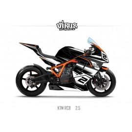 Kit déco KTM RC8 2.1 Noir Blanc Gris