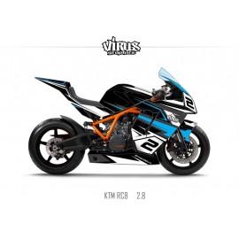 Kit déco KTM RC8 2.8 Noir Gris Bleu