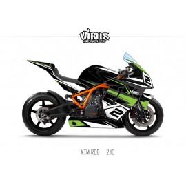 Kit déco KTM RC8 2.10 Noir Gris Vert
