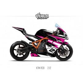 Kit déco KTM RC8 2.11 Noir Blanc Rose