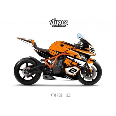 Kit déco KTM RC8 3.5 Orange Noir Blanc