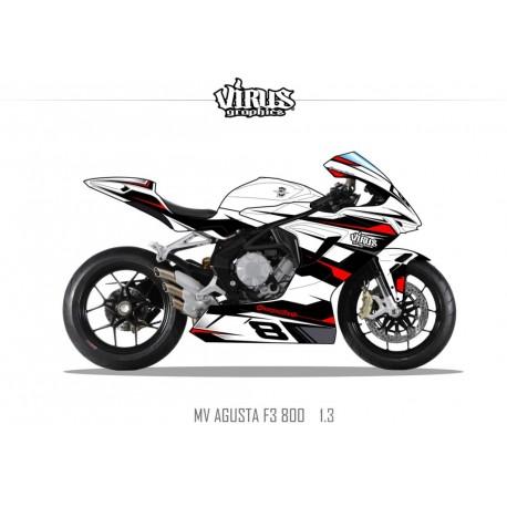 Kit déco MV AGUSTA F3 1.3 Blanc Noir Rouge