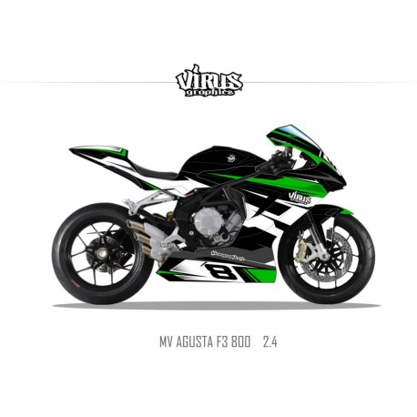 Kit déco MV AGUSTA F3 2.4 Noir Vert Blanc