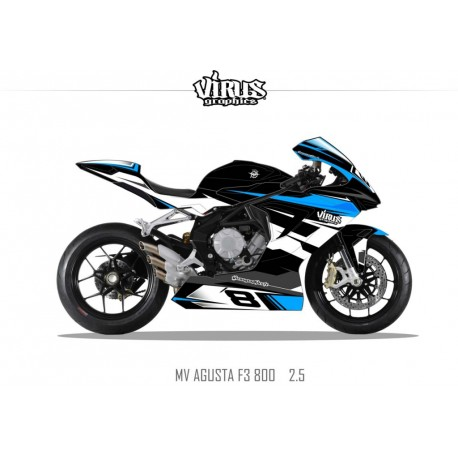 Kit déco MV AGUSTA F3 2.4 Noir Bleu Blanc