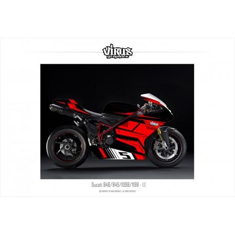 Kit déco Ducati 1198 1.1 Noir Rouge