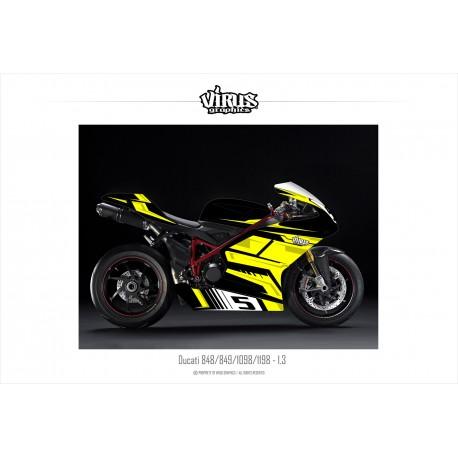 Kit déco Ducati 1098/1198 1.3 Noir Jaune