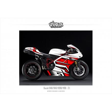 Kit déco Ducati 1098/1198 2.1 Blanc Rouge Noir