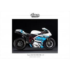 Kit déco Ducati 1098/1198 2.2 Blanc Bleu Noir