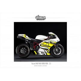 Kit déco Ducati 1098/1198 2.3 Blanc Jaune Noir