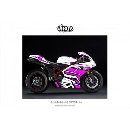 Kit déco Ducati 1098/1198 2.4 Blanc Rose Noir