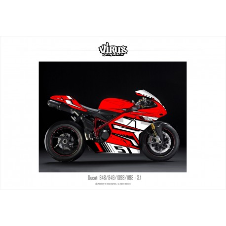 Kit déco Ducati 1098/1198 3.1 Rouge Blanc Noir