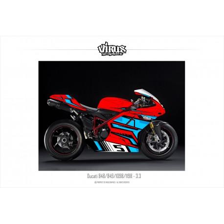 Kit déco Ducati 1098/1198 3.3 Rouge Bleu Noir