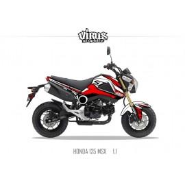 Kit déco Honda MSX 125 2013/15 1.1 Blanc Rouge Noir