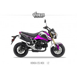 Kit déco Honda MSX 125 2013/15 1.2 Blanc Rose Noir
