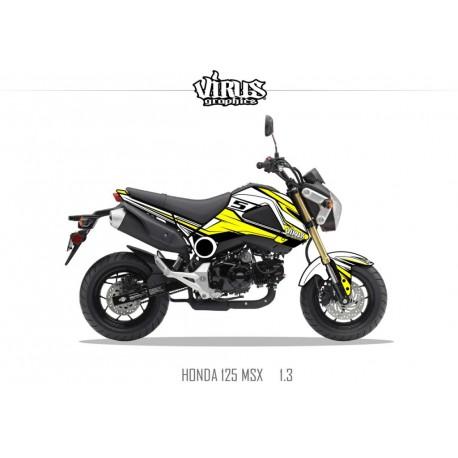Kit déco Honda MSX 125 2013/15 1.1 Blanc Jaune Noir