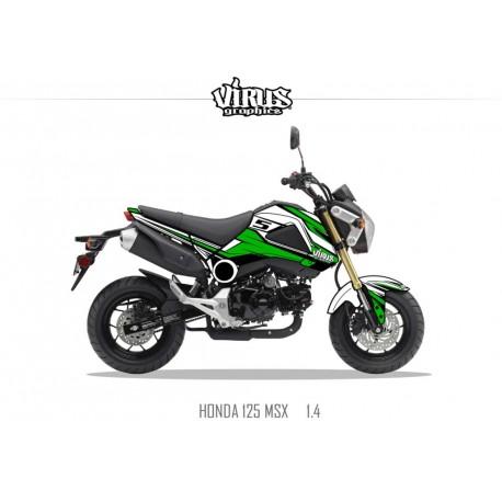 Kit déco Honda MSX 125 2013/15 1.1 Blanc Vert Noir