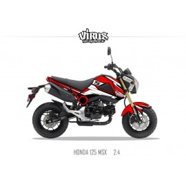 Kit déco Honda MSX 125 2013/15 2.4 Rouge Blanc Noir