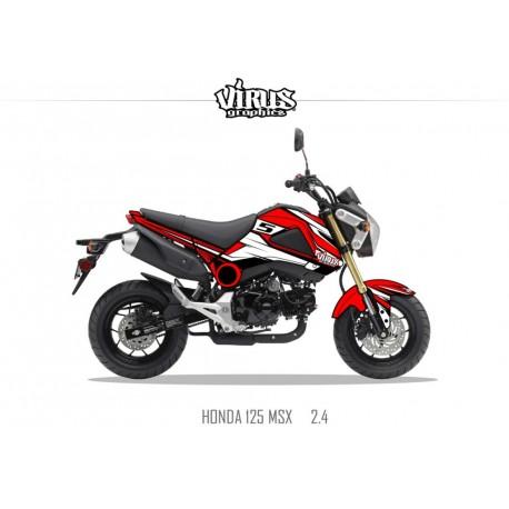Kit déco Honda MSX 125 2013/15 2.4 Rouge Blanc Noir