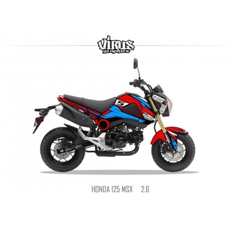 Kit déco Honda MSX 125 2013/15 2.6 Rouge Bleu Noir