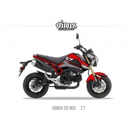 Kit déco Honda MSX 125 2013/15 2.7 Rouge Gris Noir