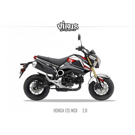 Kit déco Honda MSX 125 2013/15 2.8 Blanc Gris Noir