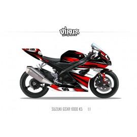 Kit déco Suzuki GSXR1000 2005/06 1.1 Noir Rouge Blanc