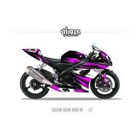Kit déco Suzuki GSXR1000 2005/06 1.2 Noir Rose Blanc
