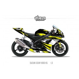 Kit déco Suzuki GSXR1000 2005/06 1.3 Noir Jaune Blanc