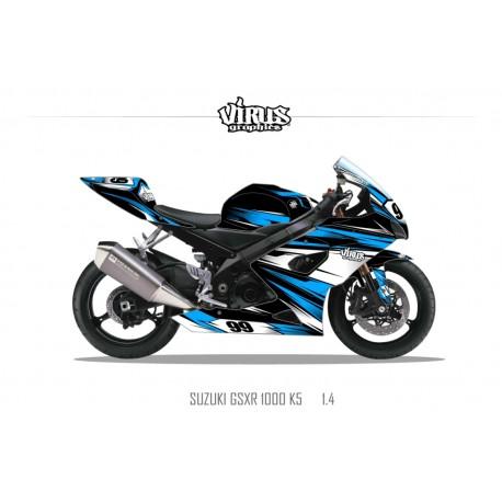 Kit déco Suzuki GSXR1000 2005/06 1.4 Noir Bleu Blanc