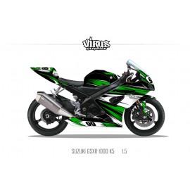 Kit déco Suzuki GSXR1000 2005/06 1.5 Noir Vert Blanc