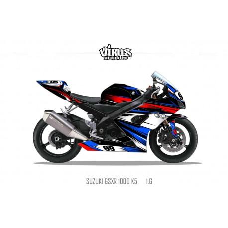 Kit déco Suzuki GSXR1000 2005/06 1.6 Noir Bleu Rouge Blanc