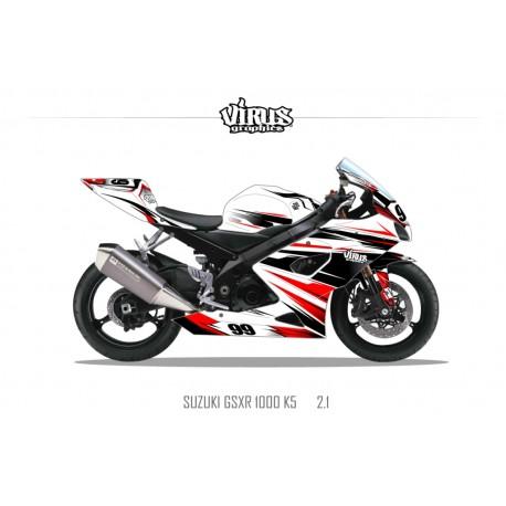 Kit déco Suzuki GSXR1000 2005/06 2.1 Blanc Noir Rouge