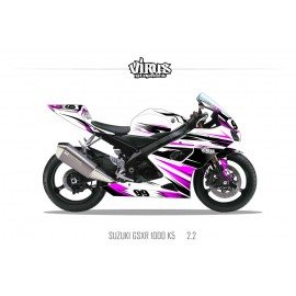 Kit déco Suzuki GSXR1000 2005/06 2.2 Blanc Noir Rose