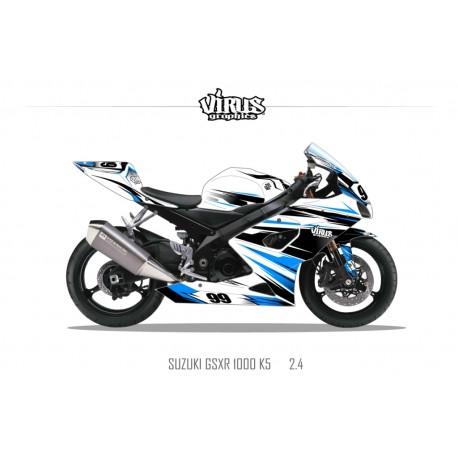 Kit déco Suzuki GSXR1000 2005/06 2.3 Blanc Noir Bleu