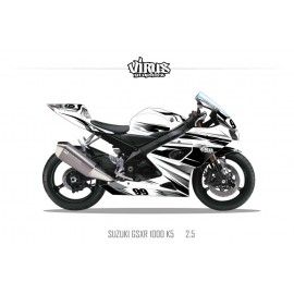 Kit déco Suzuki GSXR1000 2005/06 2.5 Blanc Noir Gris