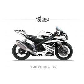 Kit déco Suzuki GSXR1000 2005/06 2.5 Blanc Noir Gris