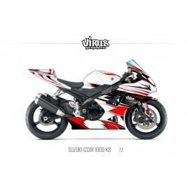 Kit déco Suzuki GSXR1000 2007/08 1.1 Blanc Rouge Noir