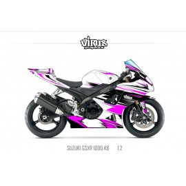 Kit déco Suzuki GSXR1000 2007/08 1.2 Blanc Rose Noir