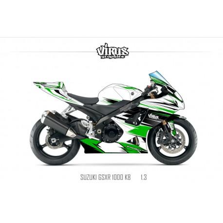 Kit déco Suzuki GSXR1000 2007/08 1.3 Blanc Vert Noir