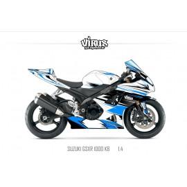 Kit déco Suzuki GSXR1000 2007/08 1.4 Blanc Bleu Noir