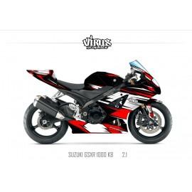 Kit déco Suzuki GSXR1000 2007/08 2.1 Noir Blanc Rouge