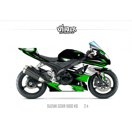 Kit déco Suzuki GSXR1000 2007/08 2.4 Noir Blanc Vert
