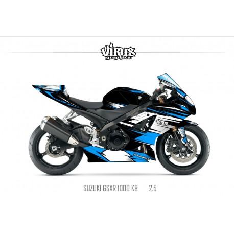 Kit déco Suzuki GSXR1000 2007/08 2.5 Noir Blanc Bleu