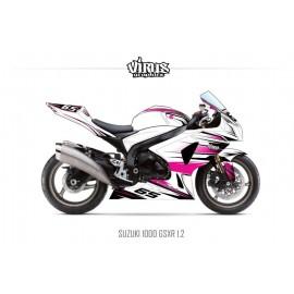Kit déco Suzuki GSXR1000 2009/16 1.2 Blanc Rose Noir